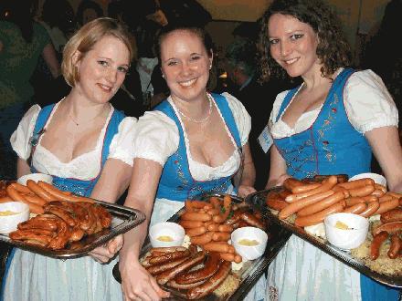 Oktoberfest dirndl en worsten