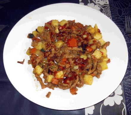 recept heerlijke shoarma vlees groente aardappel schotel