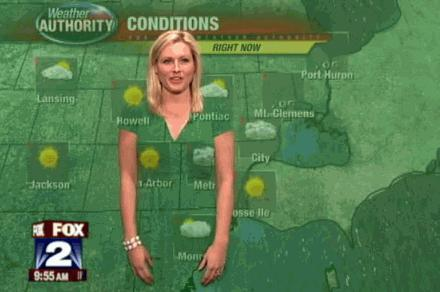 Jessica Starr shows why weather girls should not wear a Green Dress