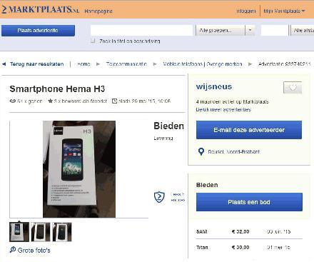 advertentie HEMA H3 Smartphone