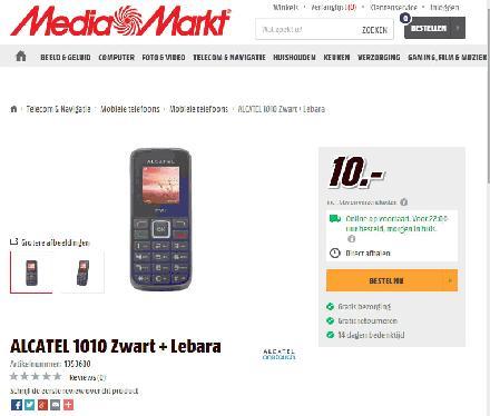 Internet aanbieding Mediamarkt ALCATEL 1010