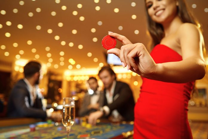 vrouw in het casino